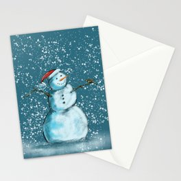 Frosty snowman and his little bird Stationery Cards