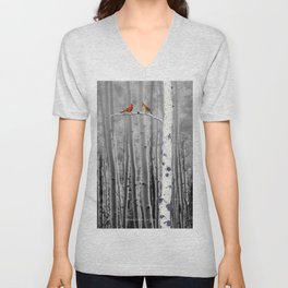 Red Cardinals in Birch Forest A128 Unisex V-Neck