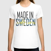 sweden T-shirts featuring Made In Sweden by VirgoSpice