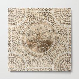 Tree of life - Yggdrasil- Dot Art Pastel Gold Metal Print