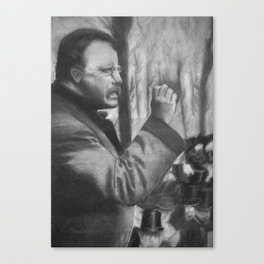Theodore Roosevelt making a speech, 1902 - Drawing, Black and White Canvas Print