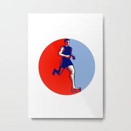 Barefoot Runner Running Front Circle Metal Print