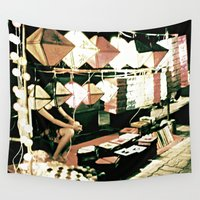 lanterns Wall Tapestries featuring Legs & Lanterns  by Ethna Gillespie