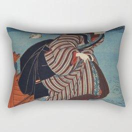 Sanbashi no Onna by Utagawa Kuniyoshi (1753-1806) translated Young Woman at Sanbashi a traditional J Rectangular Pillow