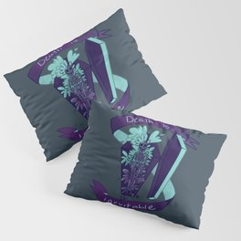 Death is Inevitable Floral Coffin palette 2 With Banner Pillow Sham