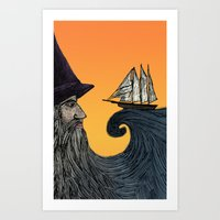 wizard Art Prints featuring Wizard by Brittany Rae