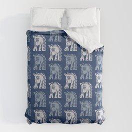 Mid Century Horse Pattern Blues Comforters