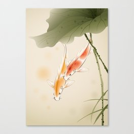 Koi fishes in lotus pond Canvas Print