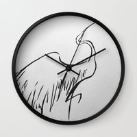 crane Wall Clocks featuring Crane by Katy Lawler