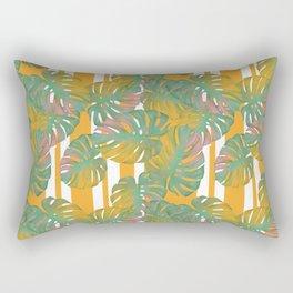 Golden Monstera Pinstripe Rectangular Pillow