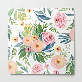 Elegant Roses Coral Pink + Green Metal Print