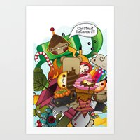 katamari Art Prints featuring Chestnut Katamari by Ed Warner