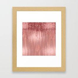 Dripping in Rose Gold Glitter Framed Art Print
