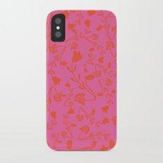 Fuchsia Pink Bright Red Flora Pattern Slim Case iPhone X