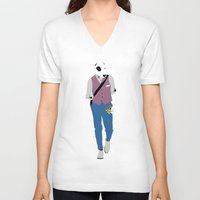 terrier V-neck T-shirts featuring Terrier by Nathalie Otter
