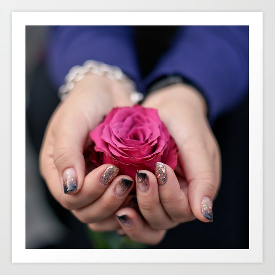 Holding a Rose Art Print