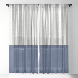 Navy Blue Mid Century  Sheer Curtain
