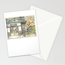 Watercolor Japanese house Stationery Cards