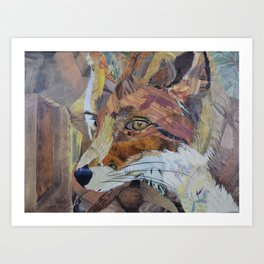 Fox Art Collage by C.E. White Art Print