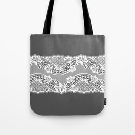 White Lace Ribbon. Tote Bag