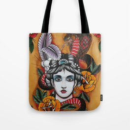 Woman with snake Tote Bag