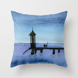 Cat waiting by the boathouse Throw Pillow