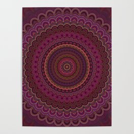 Dark purple mandala Poster