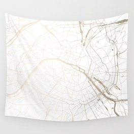 Paris Gold and White Street Map Wall Tapestry