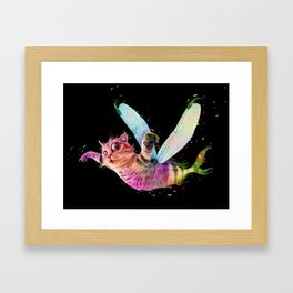 Psychedelic flying cat-fish - colorful - animal-lovers Framed Art Print