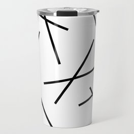 Black and white mikado stripes dash pattern Travel Mug