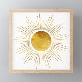 Golden Sunburst Starburst White Hot Framed Mini Art Print