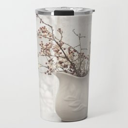 Berries in White Vase Travel Mug