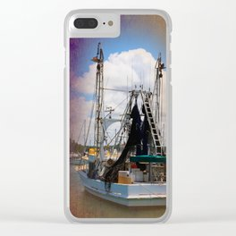 Moored boat on a river Clear iPhone Case