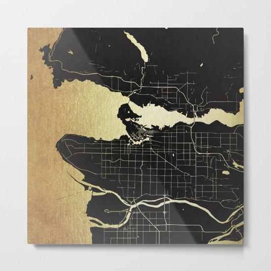 Vancouver Canada Black and Gold Map Metal Print