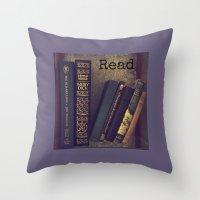 read Throw Pillows featuring Read by kstar