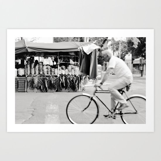 Blur by biker in Mexico City Art Print