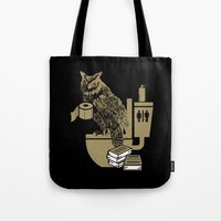 bathroom Tote Bags featuring Bathroom Owl by October's Very Own