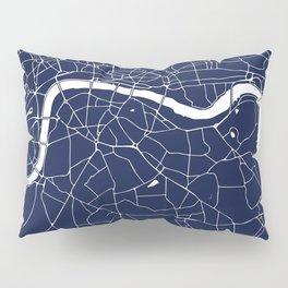 Navy on White London Street Map Pillow Sham