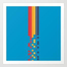Classic 80s Video Game Style Retro Stripes Pixel Drops - Akiko Art Print