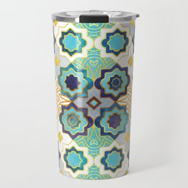Marrakesh gold and blue geometry inspiration Travel Mug