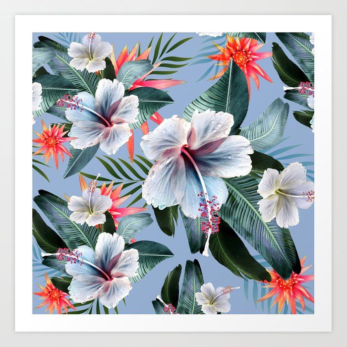 Hawaii, tropical hibiscus vintage style blue dream palm leaves Art Print by  chrissyink