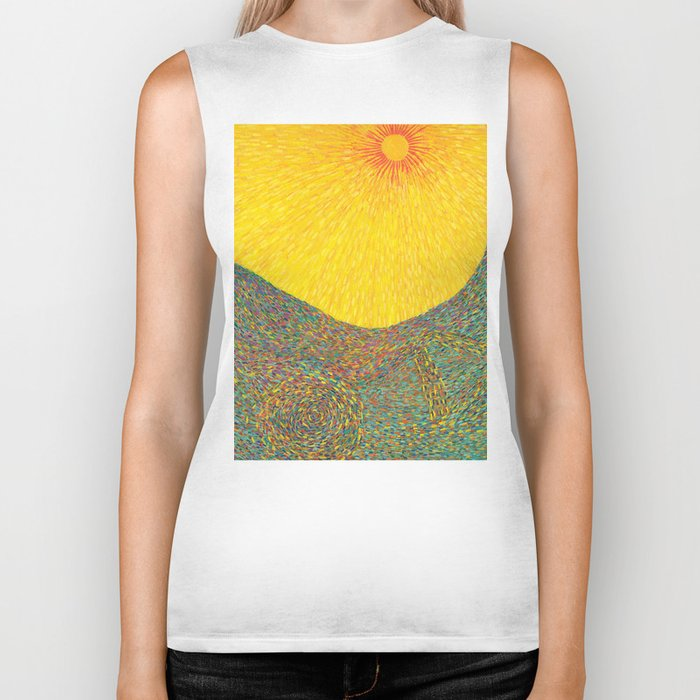 Here Comes the Sun - Van Gogh impressionist abstract Biker Tank