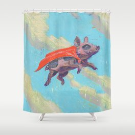 flying pig - by phil art guy Shower Curtain