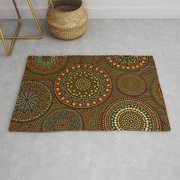 Dot Art Circles Aboriginal Art #1 Rug