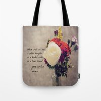 jane austen Tote Bags featuring Jane Austen Daughter Emma by KimberosePhotography
