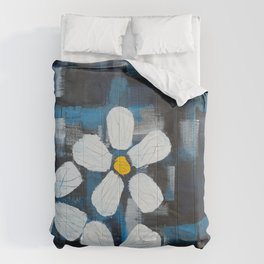 Contemporary Floral Painting with Abstract Flowers, White and yellow flowers on blue and black Comforters
