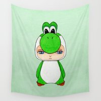 luigi Wall Tapestries featuring A Boy - Yoshi by Christophe Chiozzi
