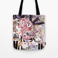 vonnegut Tote Bags featuring Kurt Vonnegut Portrait by Karl Frey