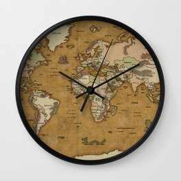 World Treasure Map Wall Clock