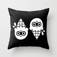 robin hood Throw Pillows featuring Robin Hood / Ice Cream by The Pairabirds